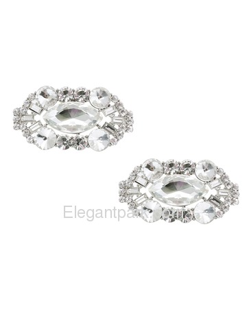 CD 2 Pcs Shoe Clips Big Oval Crystals Rhinestones Wedding Party Decoration