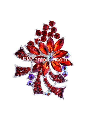 BP1708 Crystals Brooch Pin Women Fashion Jewelry Blooming Maple Tree