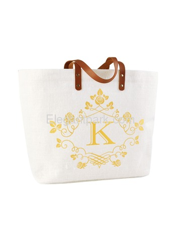ElegantPark K-Initial 100% Jute Tote Bag with Handle and Interior Pocket
