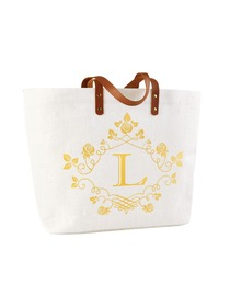 ElegantPark L-Initial 100% Jute Tote Bag with Handle and Interior Pocket