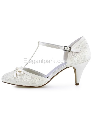 HC1721 Closed Toe Cone Heels T-Strap Buckle Ankle Strap Pumps Lace Wedding Bridal Shoes (HC1721)