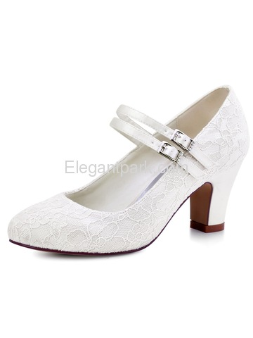 ElegantPark Ivory Round Toes Mary Jane High Heels Pumps Lace Wedding Bridal Shoes (HC1708)