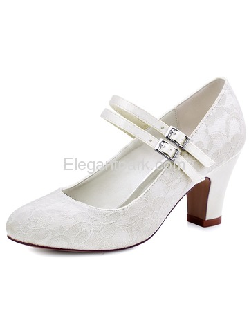 ElegantPark Ivory Round Toes High Heels Pumps Lace Wedding Bridal Shoes (HC1701)