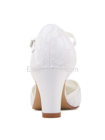 HC1802 White Ivory Lace Closed Toe High Heels Strap Wedding Party Shoes (HC1802)