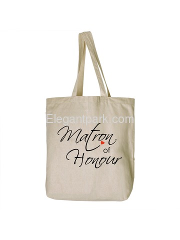 ElegantPark Matron of Honour Tote Bag Natural Canvas 100% Cotton