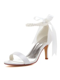 EP11053N Women Sandals High Heel Pearls Ankle Strap Satin Bridal Wedding Shoes