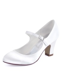 HC1801 Ivory Round Toes High Heels Pumps Satin Wedding Bridal Shoes