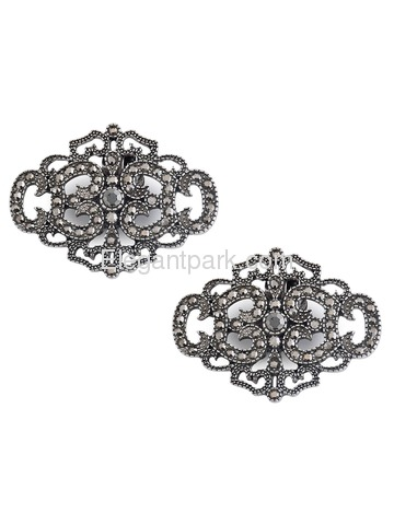 CK Antique Silver Crown Design Rhinestones Wedding Party Decoration Shoe Clips