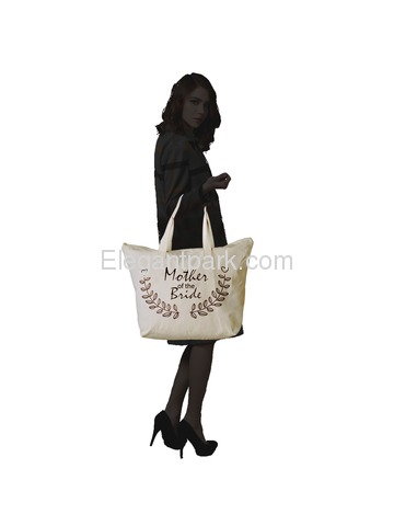 ElegantPark Mother of Bride Wedding Canvas Tote Bag Travel Zip Interior Pocket 100% Cotton 1 Pack