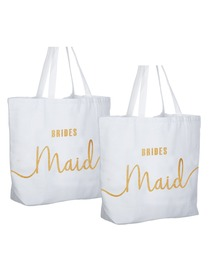 Bridesmaid Tote Bag Wedding Gifts Canvas 100% Cotton Interior Pocket White with Gold Glitter 2 Pcs