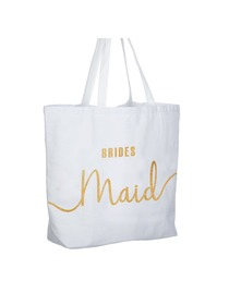 Bridesmaid Tote Bag Wedding Gifts Canvas 100% Cotton Interior Pocket White with Gold Glitter 1 Pcs