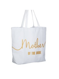 Mother of the Bride Tote Bag for Wedding Gifts Canvas 100% Cotton White with Gold Glitter