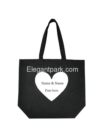 Monogrammed Wedding Black Tote Bag White Heart Custom Name & Date Design Canvas Gift Bag 100% Cotton