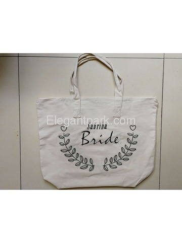 Personalized Wedding Tote Bag Custom Embroidery Name Branch Design Zip Bride Tote Bag 100% cotton