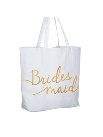 Bridesmaid Tote Bag Wedding Favour Hen Night Party Gift White Canvas 100% Cotton Gold Glitter 1 Pcs