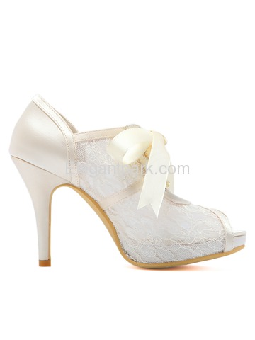 HP1718I Women Platform Stiletto High Heel Peep Toe Pleated Lace Wedding Bridal Party Shoes (HP1718I)