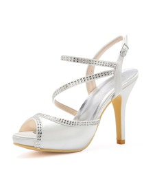 Women High Heel Platform Open Toe Ankle Strap Rhinestones Satin Evening Party Sandals