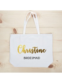 PERSONALIZED Gold Foil Bridesmaid Tote Wedding Gift White Shoulder Bag 100% Cotton …