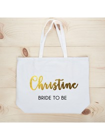 PERSONALIZED Gold Foil Bride to Be Tote Wedding Gift White Shoulder Bag 100% Cotton …
