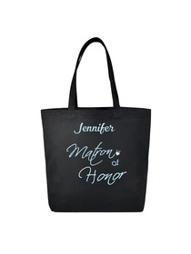 PERSONALIZED Aqua Embroidered Matron Tote Wedding Gift Black Shoulder Bag 100% Cotton
