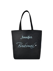 PERSONALIZED Aqua Embroidered Bridesmaid Tote Wedding Gift Black Shoulder Bag 100% Cotton …