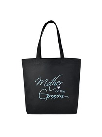 Mother of the Groom Tote Bag Wedding Bridal Shower Gift Canvas 100% Cotton Black Aqua Embroidered