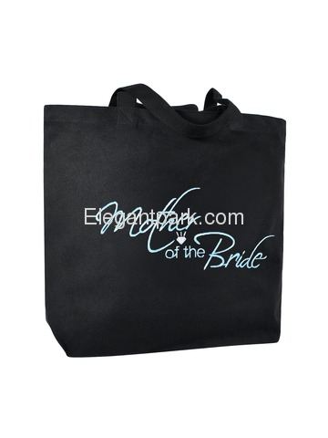 Mother of the Bride Tote Bag Wedding Bridal Shower Gift Canvas 100% Cotton Black Aqua Embroidered