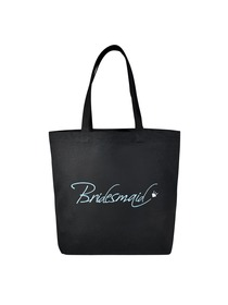 Bridesmaid Heavy Tote Bag Wedding Bridal Shower Gift Canvas 100% Cotton Black with Aqua Embroidered
