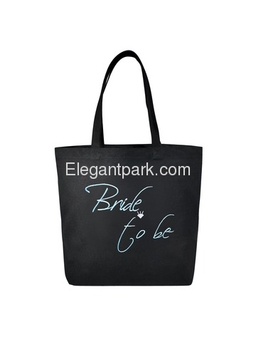Bride to Be Heavy Tote Bag Bridal Wedding Favor Gift Canvas 100% Cotton Black with Aqua Embroidered