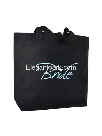 Bride Heavy Tote Bag Bridal Wedding Favor Gift Canvas 100% Cotton Black with Aqua Embroidered