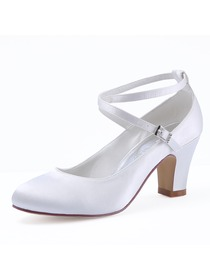 HC1808 Satin Closed Toe Chunky Heel Pumps Criss Corss Wedding Bridal Shoes
