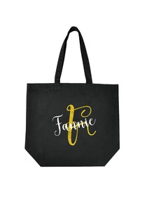 PERSONALIZED Initial F Monogram Wedding Tote Bridal Party Gift Black Shoulder Bag 100% Cotton …