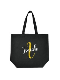 PERSONALIZED Initial I Monogram Wedding Tote Bridal Party Gift Black Shoulder Bag 100% Cotton …