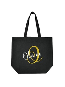 PERSONALIZED Initial O Monogram Wedding Tote Bridal Party Gift Black Shoulder Bag 100% Cotton …