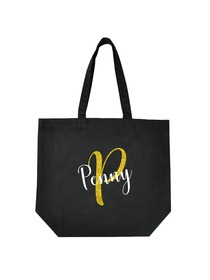 PERSONALIZED Initial P Monogram Wedding Tote Bridal Party Gift Black Shoulder Bag 100% Cotton …