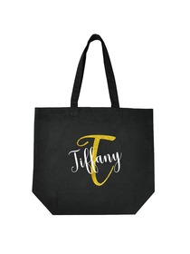 PERSONALIZED Initial T Monogram Wedding Tote Bridal Party Gift Black Shoulder Bag 100% Cotton …