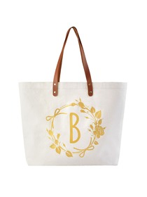 ElegantPark Eco-Friendly Wedding Shopping Grocery Tote Bag Interior Pocket 100% Cotton ,Letter B