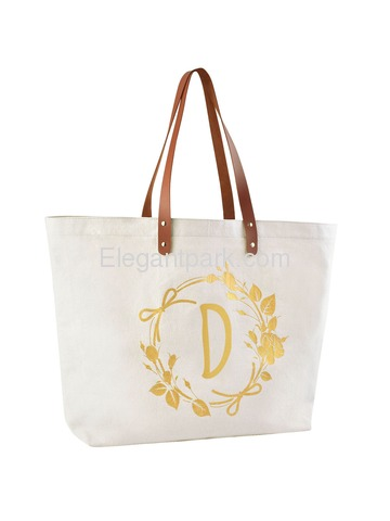 ElegantPark Eco-Friendly Wedding Shopping Grocery Tote Bag Interior Pocket 100% Cotton ,Letter D