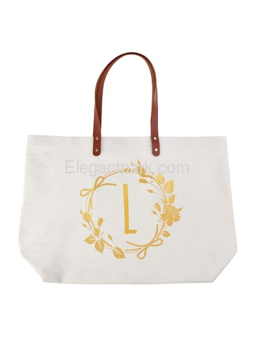ElegantPark Shopping Eco-Friendly Daily Uesd Tote Bag with Interior Pocket 100% Cotton, Letter L