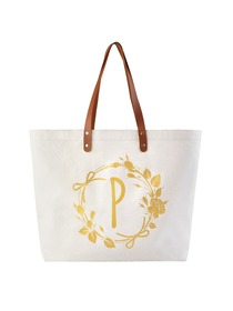 ElegantPark Large Reuseale Shopping Grocery Tote Bag with Interior Pocket 100% Cotton, Letter P