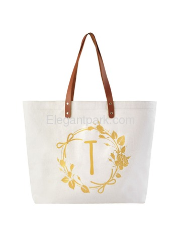 ElegantPark Travel Luggage Shopping Tote Bag with Interior Pocket 100% Cotton, Letter T