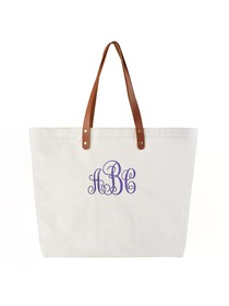 PERSONALIZED Custom Gift Tote Monogram Initial Fancy Embroidery Shoulder Bag with Interior Zip Poc