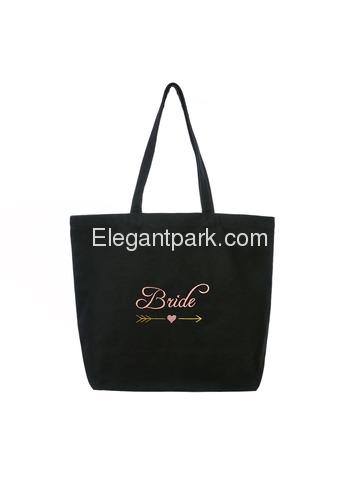 ElegantPark Bride Wedding Tote Bridal Shower Gift Shoulder Bag Black with Pink Embroidered 100% Cott