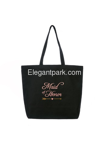 ElegantPark Maid of Honor Wedding Tote Bachelorette Gift Shoulder Bag Black with Pink Embroidered 10