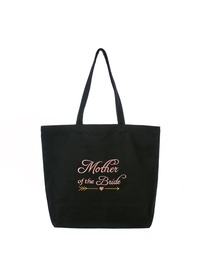 ElegantPark Mother of the Bride Wedding Tote Bridal Shower Gift Shoulder Bag Black with Pink Embroid