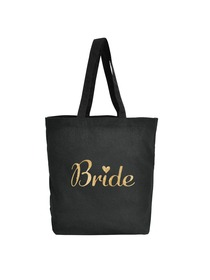 ElegantPark Bride Tote Bag for Wedding Bridal Shower Gifts 100% Cotton Black with Gold Glitter