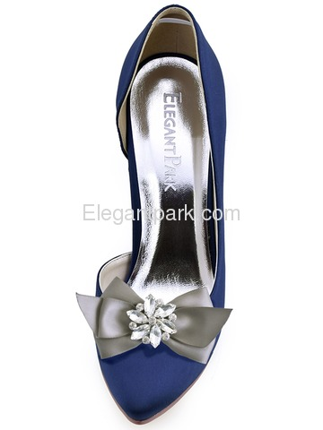 ElegantPark Women Wedding Accessories Bow satin with Rhinestones Crystal Shoe Clips 2Pcs