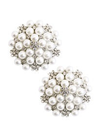 ElegantPark Women Wedding Accessories Pearl brooch Shoe Clips 2Pcs