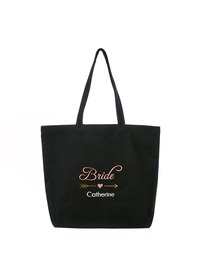 PERSONALIZED Pink Embroidered Bride Tote Wedding Bachelorette Party Gift Monogram Black Shoulder Bag