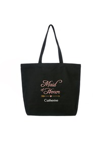 PERSONALIZED Pink Embroidered Maid of Honor Tote Wedding Bachelorette Party Gift Monogram Black Shou